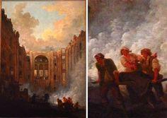 """L'incendie de l'Opéra. Intérieur de la salle le lendemain de l'incendie - Hubert Robert - """" Le soir du 8 juin 1781, l'Opéra de Paris, enclavé dans les bâtiments du Palais-Royal prend feu. Hubert Robert, alors logé dans les galeries du Louvre, à proximité donc de l'Opéra, se déplaça jusqu'à l'Académie de peinture dont les fenêtres donnaient sur le Palais-Royal. Il brossa rapidement une étude sur bois de la scène."""""""
