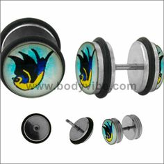 The 18 gauge fake plug barbells are made from stainless steel with external threading. The swallow logo is encased in a clear acrylic dome.