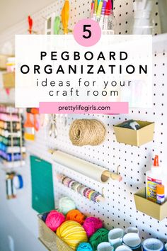 5 Pegboard Organization Ideas for Your Craft Room - The Pretty Life Girls | My craft room is always evolving as I change the methods I am working with or the projects I am deep into, but my pegboard almost never changes because it is where I keep my core crafting arsenal. Hanging a pegboard for tool storage is so helpful because it takes up little space and gives me easy access to all of the supplies that I use most. So today we're sharing a few pegboard organization ideas and sharing tips… Pegboard Organization, Organization Ideas, Creative Storage, Tool Storage, Easy Access, Easy Crafts, Diy Projects, Arsenal, Core