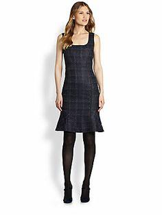 Tory Burch Drew Plaid-Print Tweed Sheath Dress