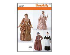 Women's Plus Size Victorian, Pioneer, Pilgrim, Puritan, Georgian, Colonial Jane Austen Style Gown Pattern: Simplicity 2354. $7.00, via Etsy.