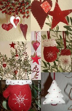 Christmas Ornaments :: Especially like the mitten w/snowflake ~ think neutral colors ...