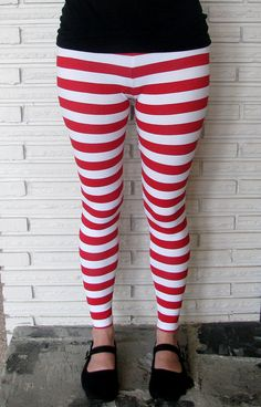 Red and White Striped Leggings Stretch Pants by HarmonyThreads