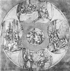 Artist: Schäufelein, Hans Leonhard, Title: Entwurf für eine Vierpaßscheibe, Date: 1510