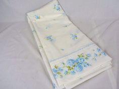 Vtg Fashion Manor Blue Aqua Floral Double Flat Sheet Scalloped Embroidered Edge