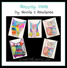 Groovy Owl Art Project by Grade 1 students Owl Kids, Today Is My Birthday, Owl Pictures, Basic Shapes, Owl Art, Cute Owl, Grade 1, Farm Animals, Art Lessons