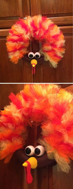 Tom the Turkey Wreath - followed instructions from http://www.babyrabies.com/2012/10/thom-the-turkey-tulle-wreath-tutorial/