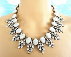 Grey tone prong stone mixed antique gold metal bib statement chunky choker necklace on Etsy, $18.99