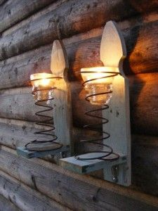 Pair of Upcycled Light Aqua Fence Picket Sconces with Springs and Vintage Electric Pole Insulators Bed Spring Crafts, Spring Projects, Diy Projects To Try, Wood Projects, Old Bed Springs, Mattress Springs, Box Springs, Primitive Crafts, Wood Crafts