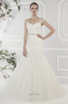 #Ellis2015 Style 19055 'Softly Pleated Tulle Fishtail Dress with Detachable Straps and Diamante Bow Belt'