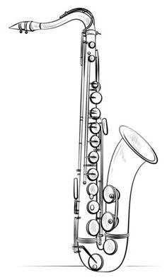 Saxofone Página para colorir