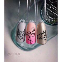 Ideas for nails white matte blue Love Nails, Pretty Nails, Flamingo Nails, Geometric Nail, Manicure E Pedicure, Manicure Ideas, Perfect Nails, White Nails, Diy Nails