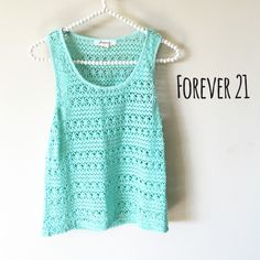 "Sale  Forever 21 Mint Knit Tank Excellent used condition  Size Small  61% Polyester, 33% Cotton, 6% Rayon  Length: 22""  Chest: 32-34"" Forever 21 Tops Tank Tops"