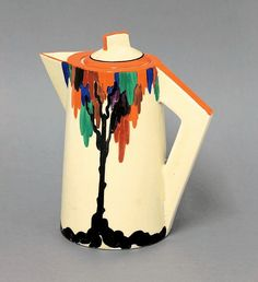 Decorative Art & Design - Sworders Fine Art Auctioneers. A Clarice Cliff Bizarre 'Latona Tree' conical coffee pot and cover, printed marks, restored cover, 19cm (2). Estimated Price: £180 - £220