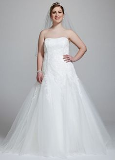 Strapless Tulle Wedding Gown with Beaded Appliques Style AI13012491