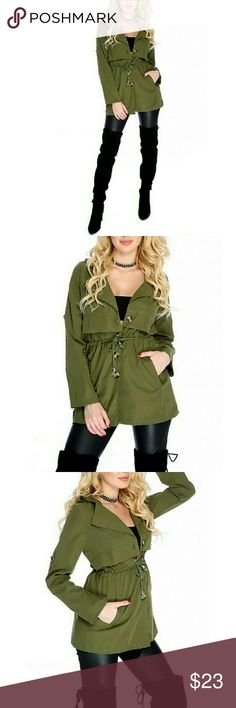 Olive Trench Coat Flaunt this essential piece this season to top off any outfit! Features, long sleeve, jaw string waist tie, buckle accent, front pockets, button up trench coat. moda  boutique Jackets & Coats Trench Coats