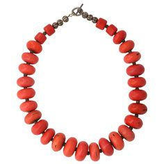 Coral Beaded Necklace | From a unique collection of vintage beaded necklaces at http://www.1stdibs.com/jewelry/necklaces/beaded-necklaces/
