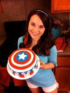 #MarvelSuperSnacks Own, Rosanna Pansino Holding her Captain America Themed Cake