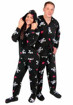 Cute Skulls Hooded Fleece Adult Footed Pajamas with Drop Seat