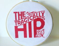 The Tragically Hip Cross Stitch Kit includes fabric, thread, needles & hoop Modern Cross Stitch, Cross Stitch Kits, Cross Stitch Designs, Cross Stitch Patterns, Tragically Hip Lyrics, Wooden Embroidery Hoops, Embroidery Needles, My Favorite Things, Sewing