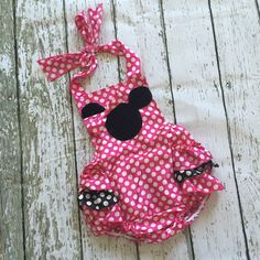 Minnie Mouse Romper, perfect for photos, minnie mouse birthdays or trips to Disney! XS - 0-6m S - 9-12m M - 18m-2T L - 3T-4T Headband only available to purchase here: http://www.angoraboutique.com/col