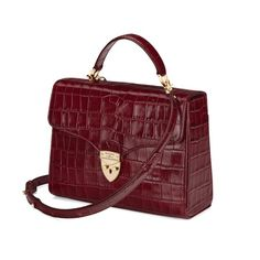 Mayfair Bag in Deep Shine Bordeaux Croc from Aspinal of London £595