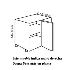 Mueble Bajo, H-80cm, Rincón con Fijo 1-Puerta