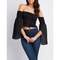 Charlotte Russe Lace-Up Smocked Off-The-Shoulder Crop Top ($22) ❤ liked on Polyvore featuring tops, black, off the shoulder tops, long tops, long bell sleeve tops, chiffon tops and long off the shoulder tops