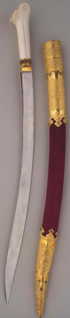 Russian yataghan with scabbard, 1839, steel and bone, forged and chased Dimension: l. 82 cm, Hermitage Museum, Russia.