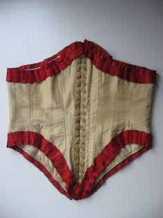 RARE VTG 1860 SWISS WAIST BONED SILK LACED BODICE/BELT-COTTON LINED-HANDSTITCHED #Handmade