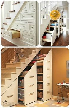 Five Simple Ways to Get More Storage Space From Small House Floor Plans - Uncinetto Small House Floor Plans, House Plans, Stairway Storage, Closet Under Stairs, Floating Staircase, House Stairs, Space Saving Furniture, Staircase Design, Basement Remodeling