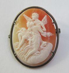 Victorian Cupid & Psyche Cameo Brooch/Pendant