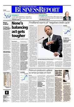 Today's Business Report newspaper front page (September 10, 2014) deals with the sharp widening in the current account deficit, FirstRand's latest results, Petra Diamonds has discovered a 232 carat white diamond and the platinum mines are building up output after the recent five-month strike.  To read these stories click here: http://www.iol.co.za/business