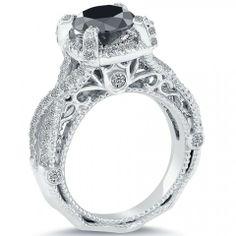 2.94 Carat Certified Natural Black Diamond Engagement Ring 14k White Gold - Black Diamond Engagement Rings - Engagement - Lioridiamonds.com