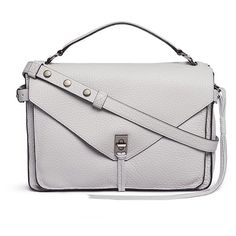 Rebecca Minkoff 'Darren' pebbled leather messenger satchel (950 BGN) ❤ liked on Polyvore featuring bags, handbags, grey, rebecca minkoff purse, white purse, white satchel handbags, pebbled-leather handbags and white handbags