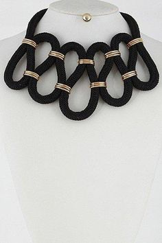 Corded Squiggly Statement Necklace - Sassy Posh - 2