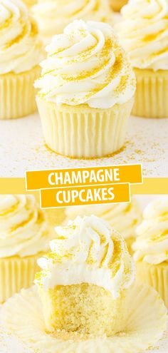 These Champagne Cupcakes are super moist and full of satisfying champagne flavor! They'd be perfect For New Year's Eve or any other special occasion. Cupcakes Amor, Fun Cupcakes, Cupcake Cakes, Drunken Cupcakes, Buttercream Cupcakes, Custom Cupcakes, Rose Cupcake, Cupcake Ideas, Frosting