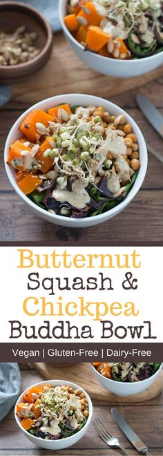 This vegan Butternut Squash & Spiced Chickpea Buddha Bowl has it all – tender butternut squash, crispy spiced chickpeas, and mixed greens topped with a mouthwatering Coriander Tahini Dressing! Are you making Buddha bowls, yet?