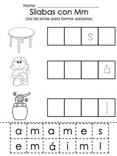 Silabas con M - ma, me, mi, mo, mu - estudiantes recortan y pegan las letras para completar las palabras de dos silabas.