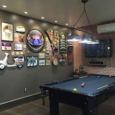 Man Cave Ideas and a Guide to a Successful Design - Man Cave Home Bar Bar Billard, Billard Design, Garage Game Rooms, Game Room Basement, Man Cave Room, Man Cave Home Bar, Rock Bar, Billards Room, Pool Table Room