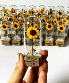 Weddings Discover Wedding Favors for Guests Wedding Favors Favors Rustic Wedding Custom Favors Sunflower Sunflower Wedding Decorations, Sunflower Party, Rustic Sunflower Weddings, Blue Sunflower Wedding, Wedding Sunflowers, Sunflower Centerpieces, Baptism Centerpieces, Sunflower Gifts, Baptism Favors