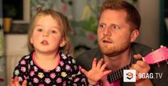 This Little Girl Thinks She Hear Fireworks And Cannot Sleep, Her Dad Does Something Really Sweet To Distract Her   9GAG.tv
