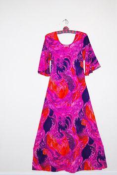 0c7a54e8f021 Mod Muu Muu Groovy Dress by CheekyVintageCloset on Etsy Muumuu, Green  Print, Vintage Dresses