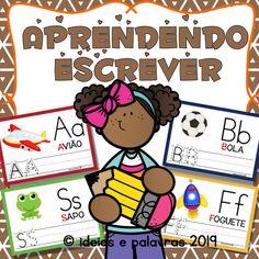 Aprendendo a Escrever   Jogo Pedagógico   Atividades de Alfabetização Bingo, Portuguese, Rhyming Activities, Name Badge Template, Learning To Write, Cursive Alphabet