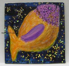 DICKES FISCHLEIN von Herbivore11 Unikat Legekarte Fisch Fische kleine Kunst Bild