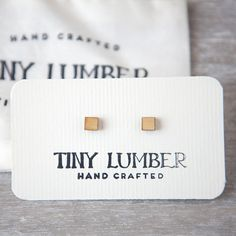 Minimal Earring Studs  Square Earring Studs  Wood by tinylumber, $12.00