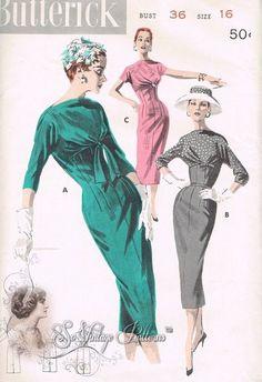 3スタイルバージョン、バトーネックライン、低Vバック、ユニークなフロントドレープやサイドドレープボディスパーフェクトスリムデイやイブニングドレスButterick 7983ヴィンテージ縫製パターンバスト36、1950。美しいドレープ帝国シースドレスのパターン図世辞