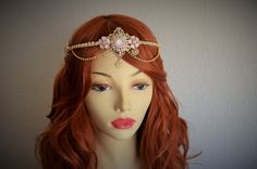 Blush and Gold headpiece, blush and gold headband, for a blush and gold gown, blush and gold halo, blush flower brooches, boho, 1920s wedding, ONE OF a KIND, READY TO SHIP.