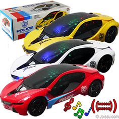 "BUMP-N-GO FLASHING POLICE CARS W/SOUND. Hear the music & vehicle traffic sounds as they race across the room and change direction with every obstacle. 3 ""AA"" batteries required - not included. Built to a 1:18 scale. Each gift boxed. Size 10 Inches,"