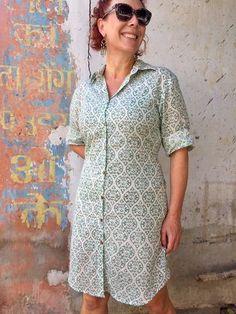 Shirt dress - Indian Cotton - Hand Block Printed - www.summerhousenz.co.nz